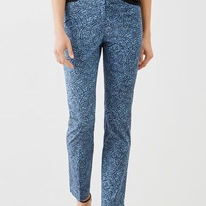 J Jill perfect cotton stretch ankle pants paisley